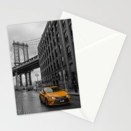 New York City - Taxi at Dumbo / Manhattan Bridge View Stationery Cards