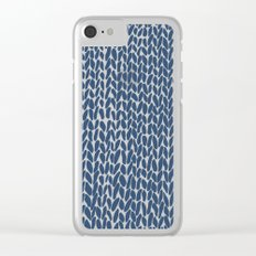 Hand Knit Navy Clear iPhone Case