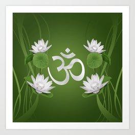 Om Symbol with Lotus flowers on green Art Print