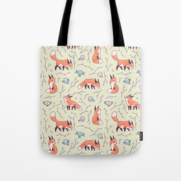 Fox and Bird Pattern Tote Bag