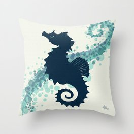 """Seahorse Silhouette"" ` digital illustration by Amber Marine, (Copyright 2015) Throw Pillow"