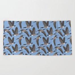 Canada Geese Flying in Blue Beach Towel