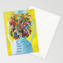head of flowers Stationery Cards