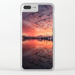 Gorgeous harbor and boats reflection landscape on a beautiful waterfront at stunning sunset time Clear iPhone Case