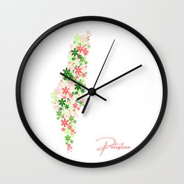 Floral Palestine Map Wall Clock