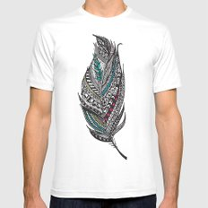Single Aztec Feather  Mens Fitted Tee MEDIUM White