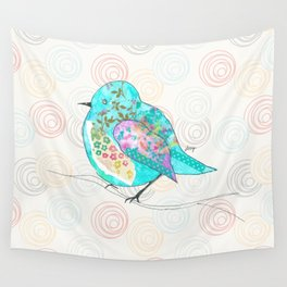 Quirk the Blue Bird Wall Tapestry