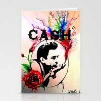 johnny cash Stationery Cards featuring Johnny Cash by suzannelola_art