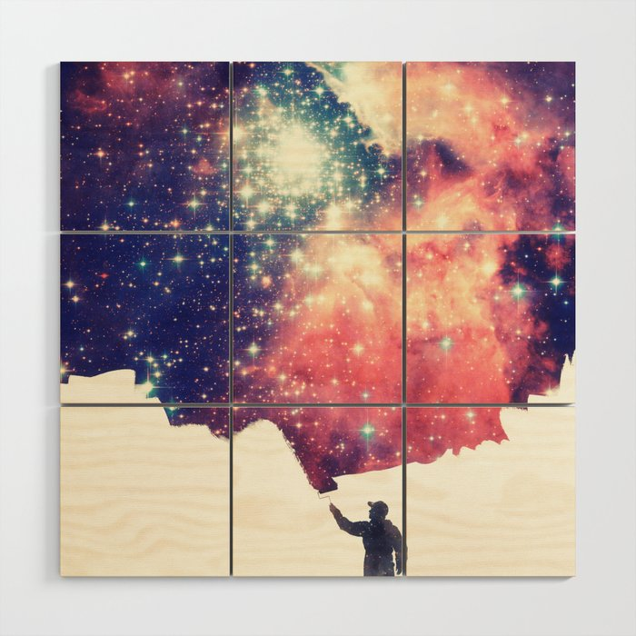 Painting The Universe Colorful Negative Space Art Wood Wall Art By Badbugsart
