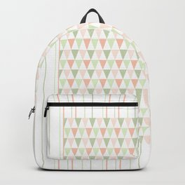 Modern pastel orange green triangles stripes pattern Backpack