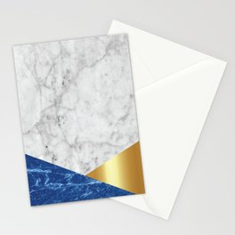 White Marble Blue Granite & Gold #188 Stationery Cards