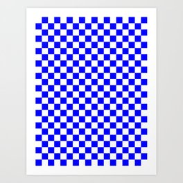 Small Checkered - White and Blue Art Print