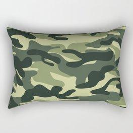 Green Military Camouflage Pattern Rectangular Pillow