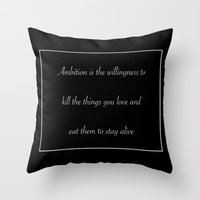 30 rock Throw Pillows featuring Ambition (30 Rock) by nicemarmot