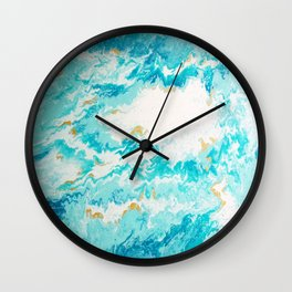 Light Blue And Gold Ocean Abstract Painting Wall Clock