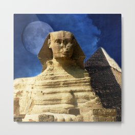 Sphinx  and Pyramid Metal Print