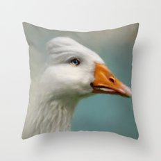 Goose with Bouffant Throw Pillow