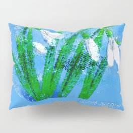 Digital Watercolor snowdrops Pillow Sham