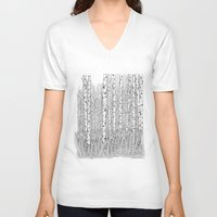 birch V-neck T-shirts featuring Birch Trees Black and White Illustration by Vermont Greetings