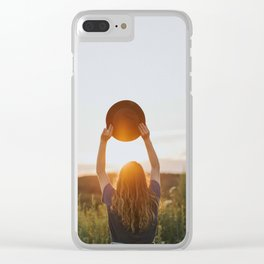 Girl With A Hat At Sunset Clear iPhone Case
