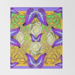 LILAC PURPLE BUTTERFLIES ABSTRACT GARDEN Throw Blanket