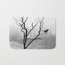 Black Crow in Foggy Forest A118 Bath Mat