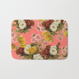 Chrysanthemums Floral Pattern in Living Coral Bath Mat