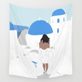 Santorini, Greece Travel Poster Wall Tapestry