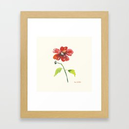 Hibiscus on yellow background Framed Art Print