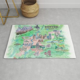 Denver Colorado Map Travel Poster Overview Best Of Typical Highlights Rug