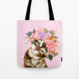 Baby Cat with Flower Crown Tote Bag