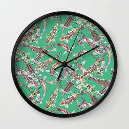 lucky koi green Wall Clock