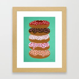 Stacked Donuts on Mint Framed Art Print