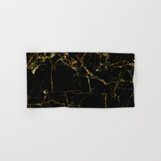 Golden Marble - Black and gold marble pattern, textured design Hand & Bath Towel