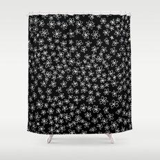 Flowers on Black Shower Curtain