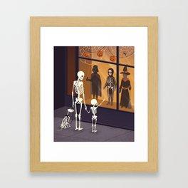 Skeletons at Halloween Framed Art Print