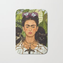 SELF PORTRAIT WITH THORN NECKLACE AND HUMMING BIRD - FRIDA KAHLO Bath Mat
