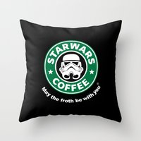 coffe Throw Pillows featuring SW Coffe by ismaeledits