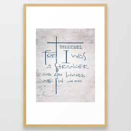 For I was a stranger and you invited Me in. Religious illustration Framed Art Print