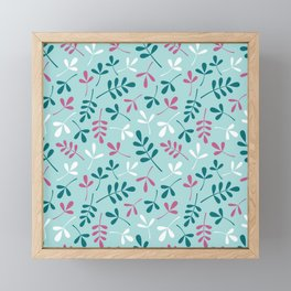 Assorted Leaf Silhouettes Teals Pink White Pattern Framed Mini Art Print