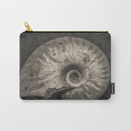 Ammonite Fossil in Sepia Carry-All Pouch