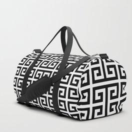 Large Black and White Greek Key Pattern Duffle Bag