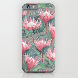 Pink Painted King Proteas on grey iPhone Case