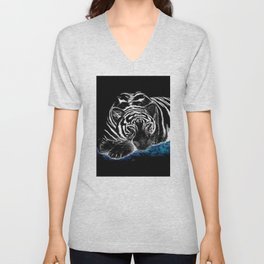 The black tiger with silver whiskers weeps over the world .. Unisex V-Neck