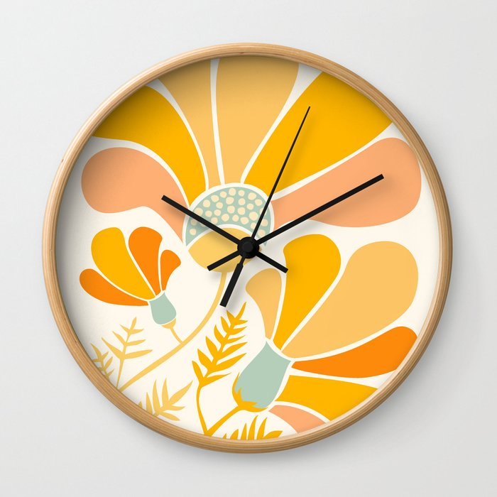 Summer Wildflowers in Golden Yellow Wall Clock