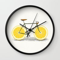 bikes Wall Clocks featuring Zest by Florent Bodart / Speakerine