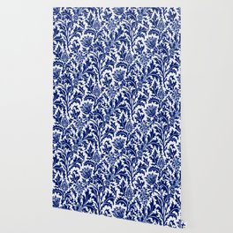 William Morris Thistle Damask, Cobalt Blue & White Wallpaper