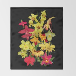 Orchids - Hot Colors! Throw Blanket