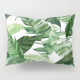 Green leaf watercolor pattern Pillow Sham