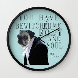 Bewitched Mr. Darcy the Pug Wall Clock